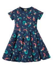 Frugi Spring Skater Dress Marine Blue Mermaid Magic