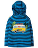 Frugi Campfire Hooded Top Sail Blue Breton Campervan