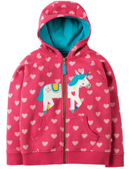Kapuzen-Sweatjacke HEATHER SWEET HEART in pink mit Einhorn