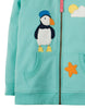 Frugi Heather Hoody Kapuzen-Sweatshirt mit Papageientaucher-Applikation