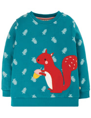 Frugi - Sammy Sweatshirt Teal Squirrel