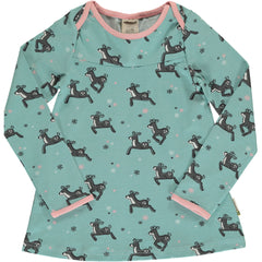 maxomorra Shirt Flare langarm DASHING REINDEER