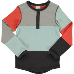 maxomorra Shirt langarm Slim Button Block MULTI FUN