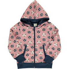 maxomorra Cardigan Hood  BLUEBERRY BLOSSOM