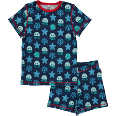 Maxomorra Pyjama Set Deep Sea Kurzarm zweiteilig