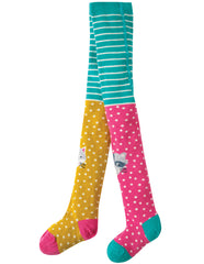 Frugi Strumpfhose Fun Knee Tights Hotchpotch with Character Knees