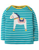 Frugi Bobby Applique Top Seaglass Breton Dala Horse 2