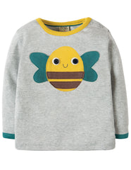 Frugi Button Off Applique Top Grey Marl Farm Multi