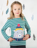 Frugi Alana Cosy Applique Top River Blue Breton Bear 1
