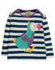 Frugi Bobby Applique Top Space Blue Stripe Dodo