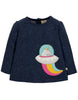 Frugi Langarm-Shirt Mabel Applique Space Blue Unicorn - Indie Exclusive!