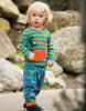 Frugi Wilf Wraparound Applique Top Meadow Stripe/Dino