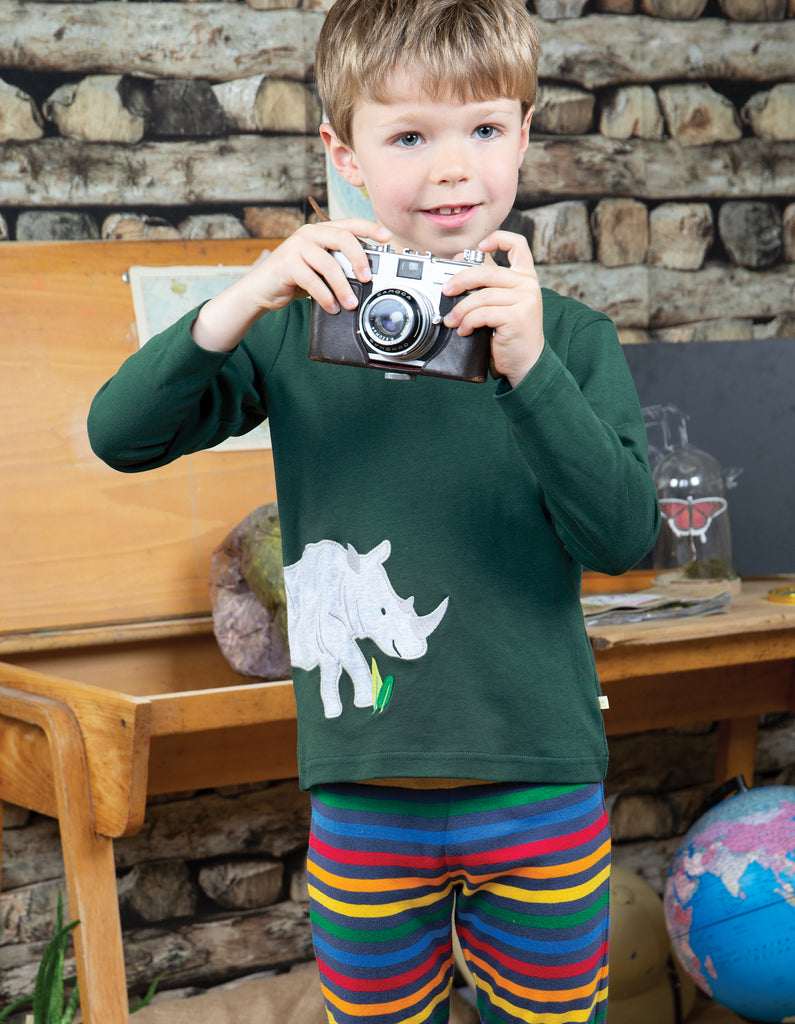 Frugi Langarm-Shirt Joe Applique Rhino