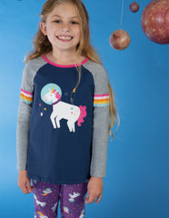 Frugi Langarm-Shirt Suzie Swing Tee Space Blue/Unicorn - Indie Exclusive!