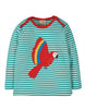 Frugi - Bobby Applique Top -  Jewel Fine Stripe Parakeet