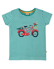 Frugi Camille Applique Tee -  Jewel Fine Stripe Bike