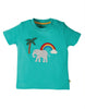 Frugi Little Creature Applique Top -  Pacific Aqua  Elephant