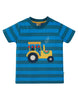 Frugi Sid Applique T-shirt -  Blue Stripe Tractor