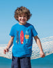 Frugi Kurzarm-Shirt Shark in Sail Blue