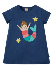 Frugi Sophie Applique Top Mermaid Marine Blue