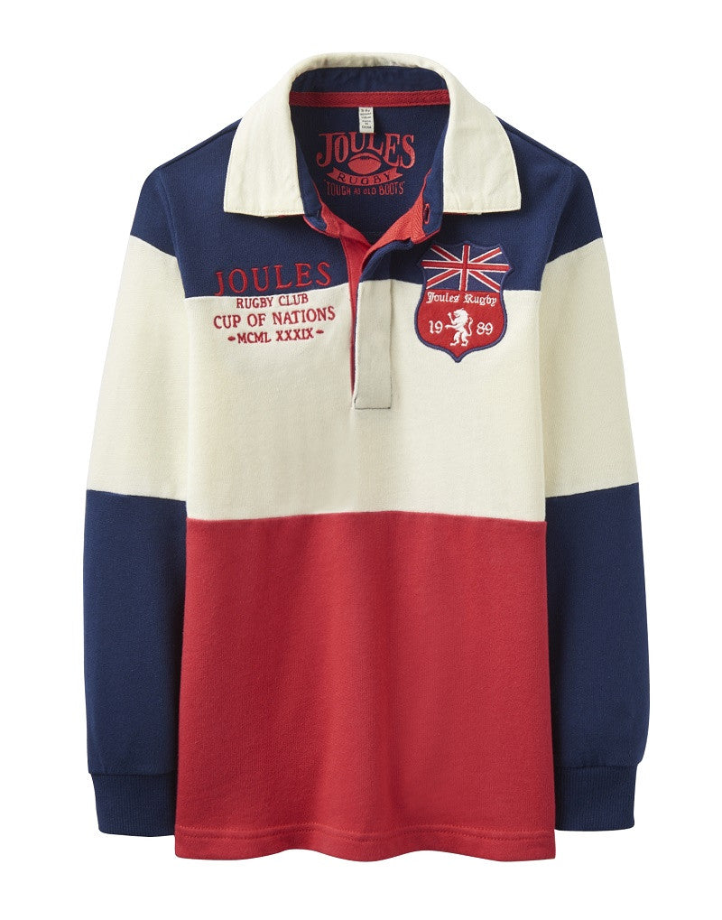 joules rugbyshirt polo in blau,creme,rot bei heldenkind