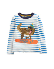 Tom Joules Langarm-Shirt Dinosauerier Applique Top Stripe Dino Scarf