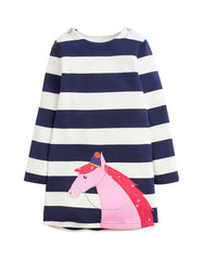 Tom Joule Kleid Applique Navy Stripe Horse
