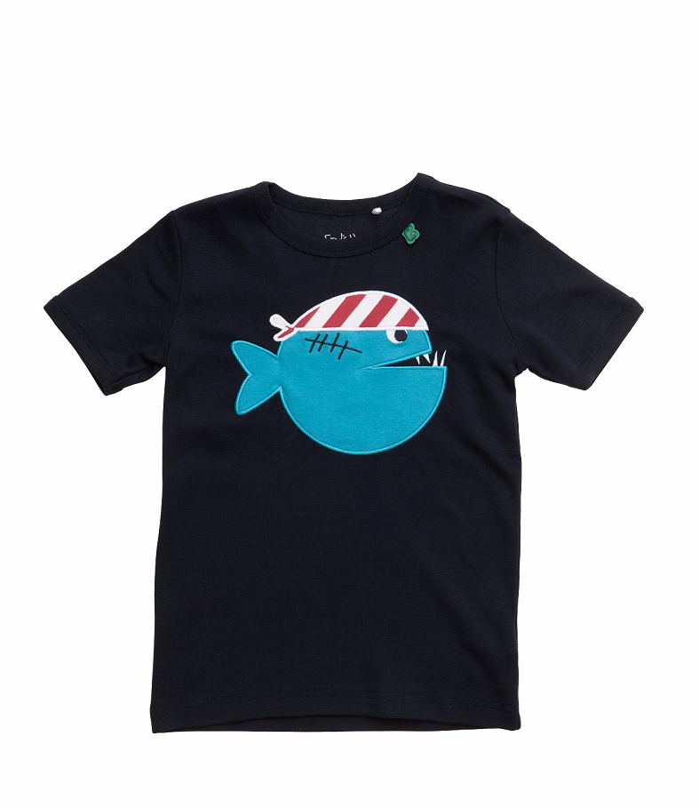 green cotton boat front t shirt navy piranha bei heldenkind