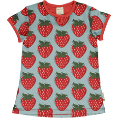 maxomorra Shirt Flare SS STRAWBERRY
