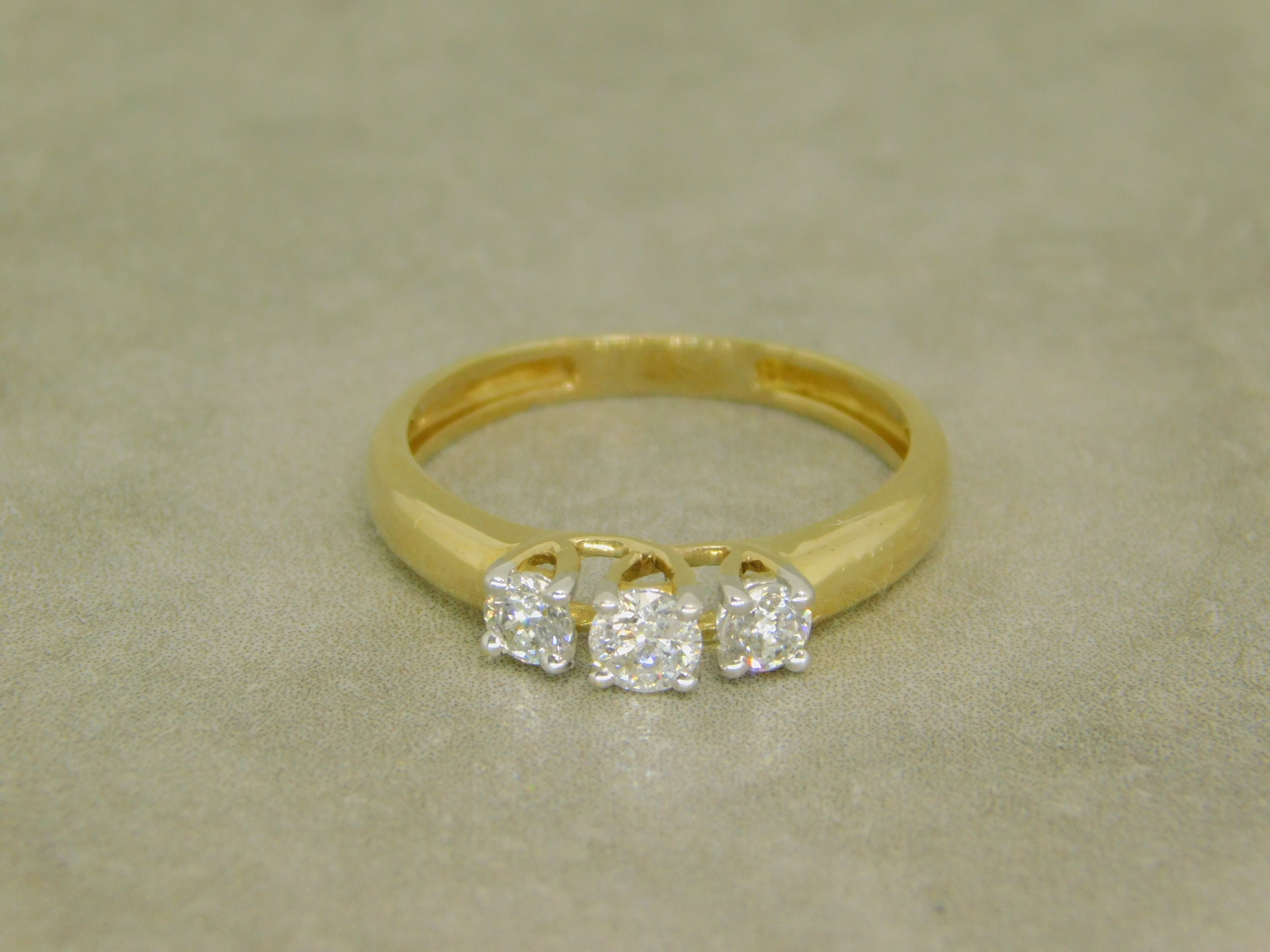 Ladies 3 Stone Yellow Gold Diamond Engagement Ring