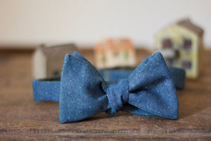 Noodles - Bow Ties - Cotton Denim - Light blue, white pin dots