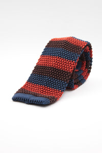 Cruciani & Bella 100% Knitted Silk Brown, Navy Blue and Rust stripe knitted tie Handmade in Italy 6 cm x 145 cm