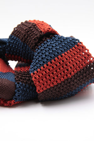 Brown, Navy Blue and Rust stripe knitted tie