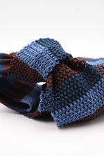 Brown, blue navy and blue iris stripe knitted tie