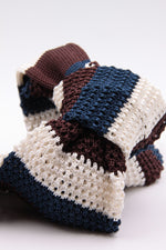 White, brown and blue navy stripe knitted tie