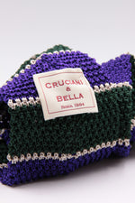 Bottle green, white and purple stripe knitted tie