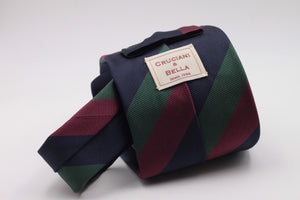 Navy Blue, Green and Burgundy stripe tie