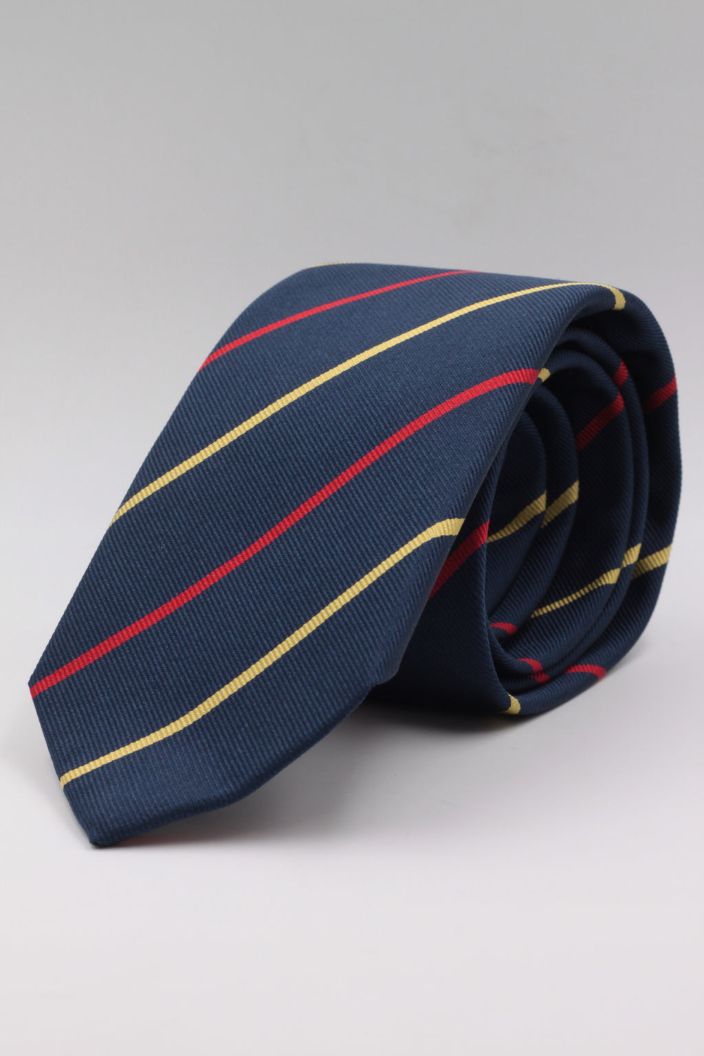 Navy Blue, Yellow and Red stripe tie