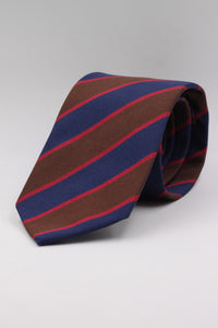 Brown, Navy blue and red stripe tie