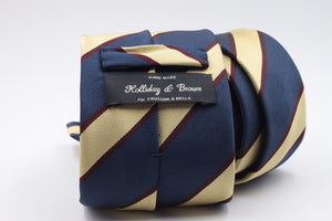Navy blue, Yellow and Burgundy stripe tie
