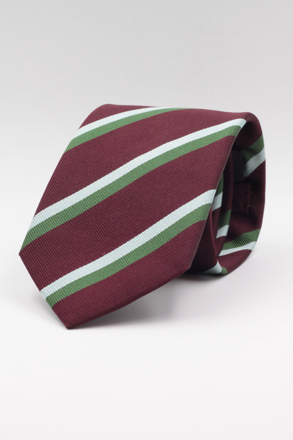 Burgundy, Olive green and Light Blue stripe tie