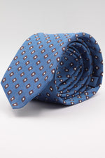 Light blue, brown and white spot tie