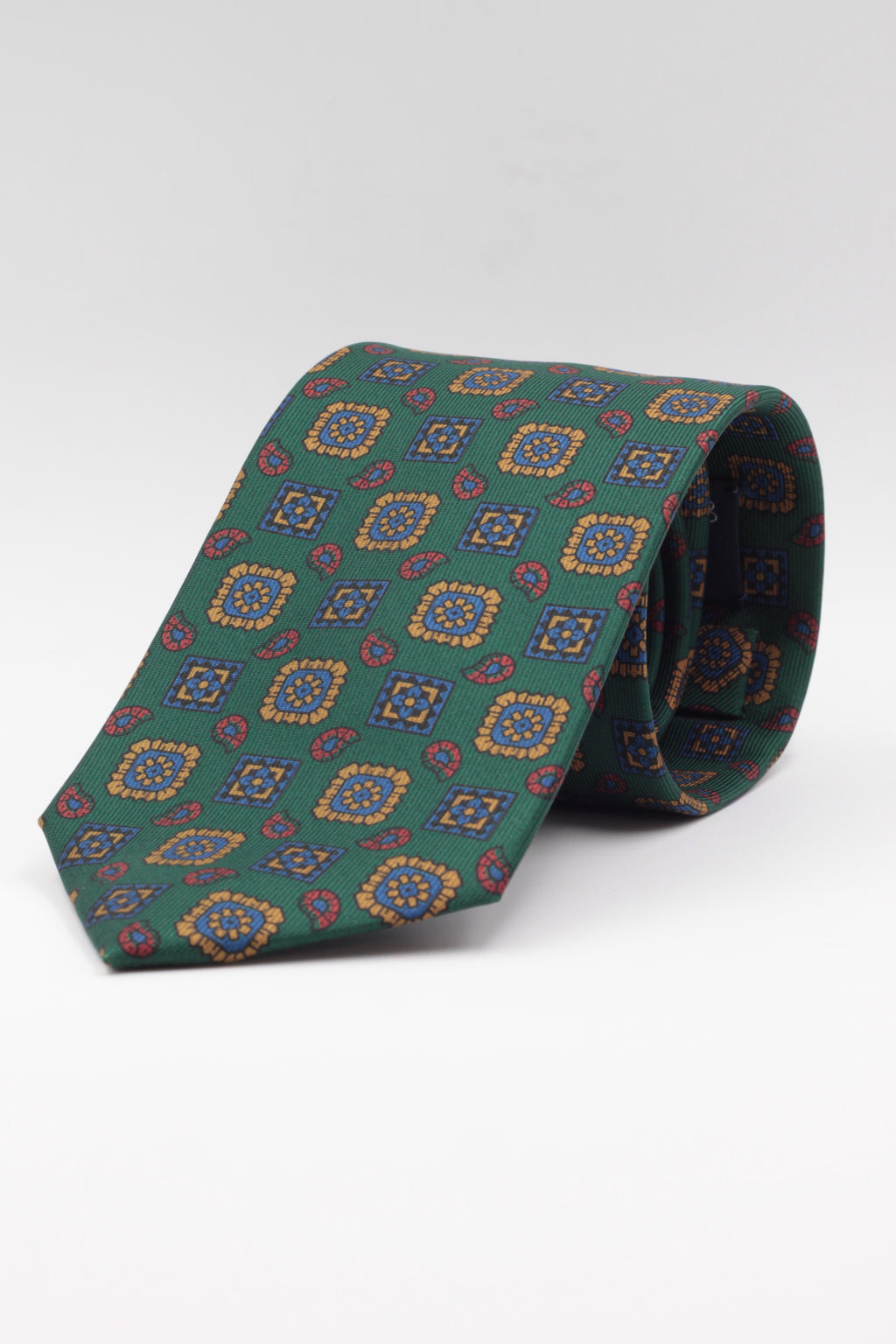 drake's Emerald green, mustard and light blue medallion tie