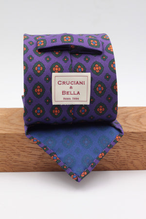 Purple, green bottle and mustard medallions tie