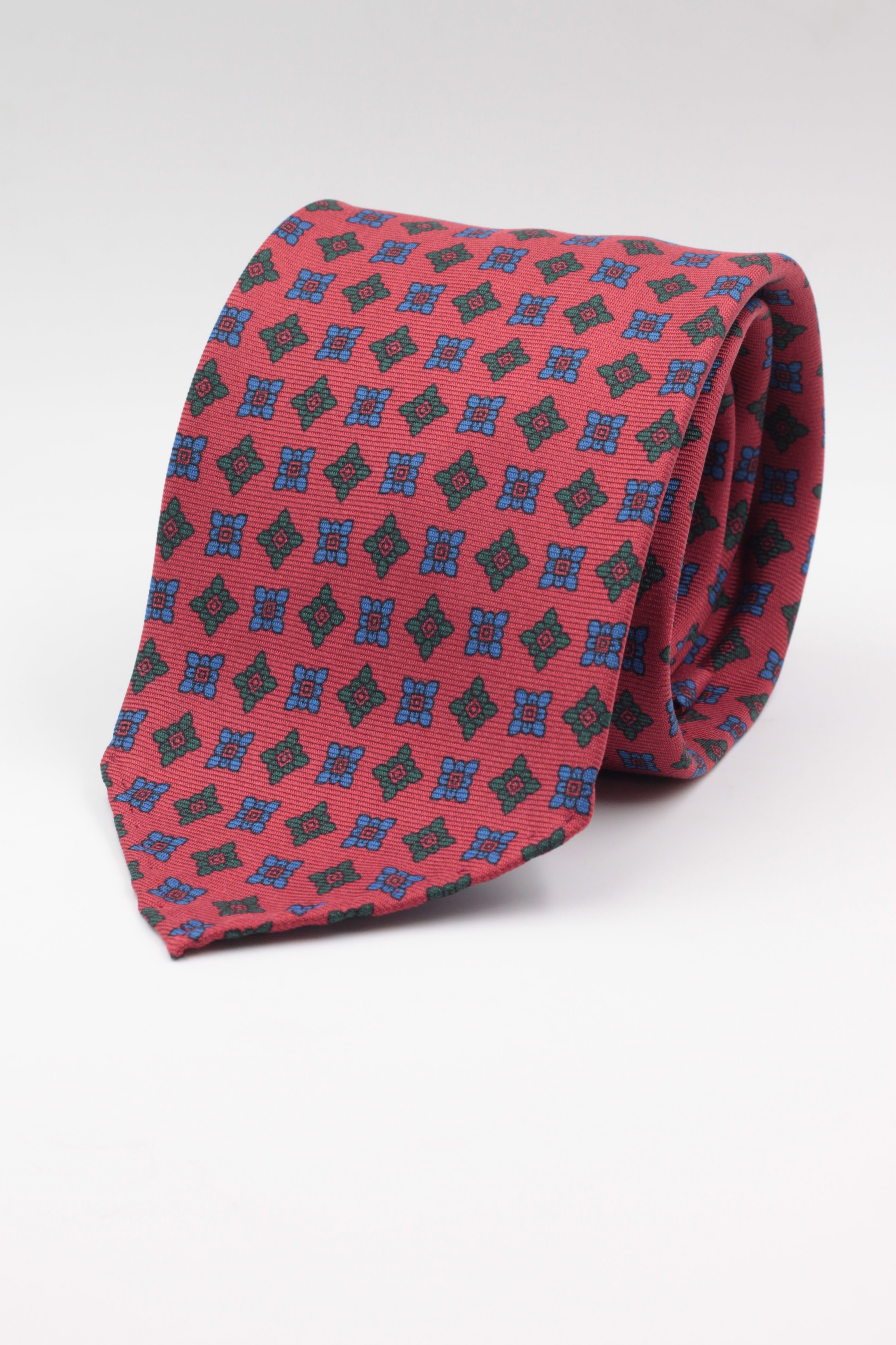 Red, green and royal blue medallions tie