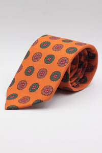 drake's Pumpkin, green and brown medallion tie