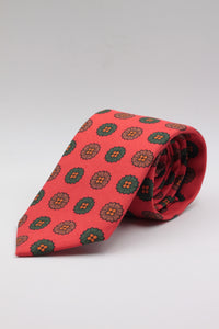 drake's Orange, green and brown medallion tie