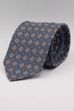 Mouse grey, light blue, royal blue, orange medallions tie