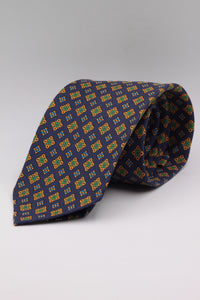 Deep Lyons Blue, yellow, green and light blue medallions tie