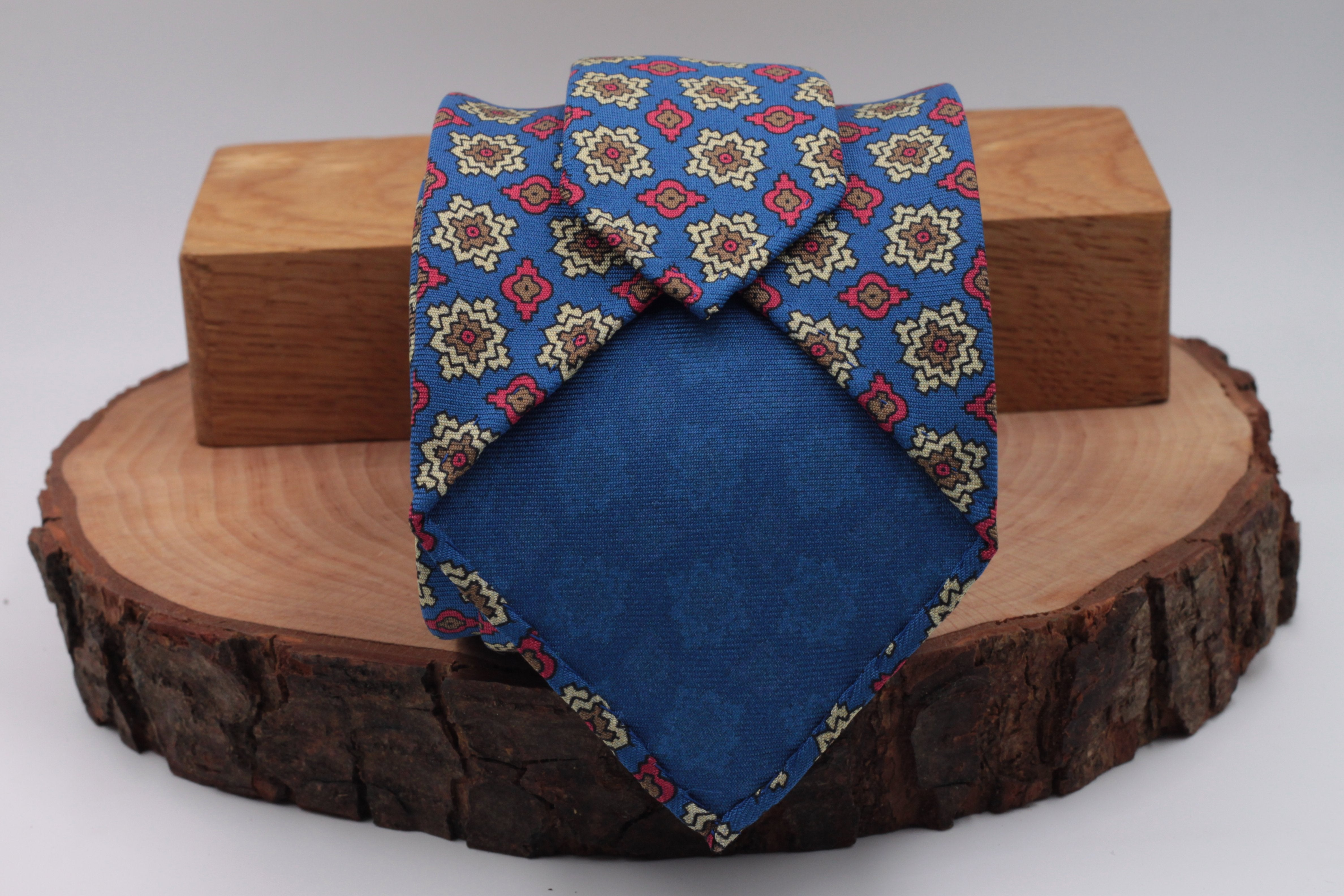 Royal Blue, green, cream, burgundy and olive green medallions tie
